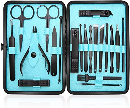 Profesional Cortaúñas Acero Inoxidable Grooming Kit - Set de 20 Piezas para Manicura y Pedicura Limpiador Cutícula con Bonita Caja (Azul): Amazon.es: Belleza