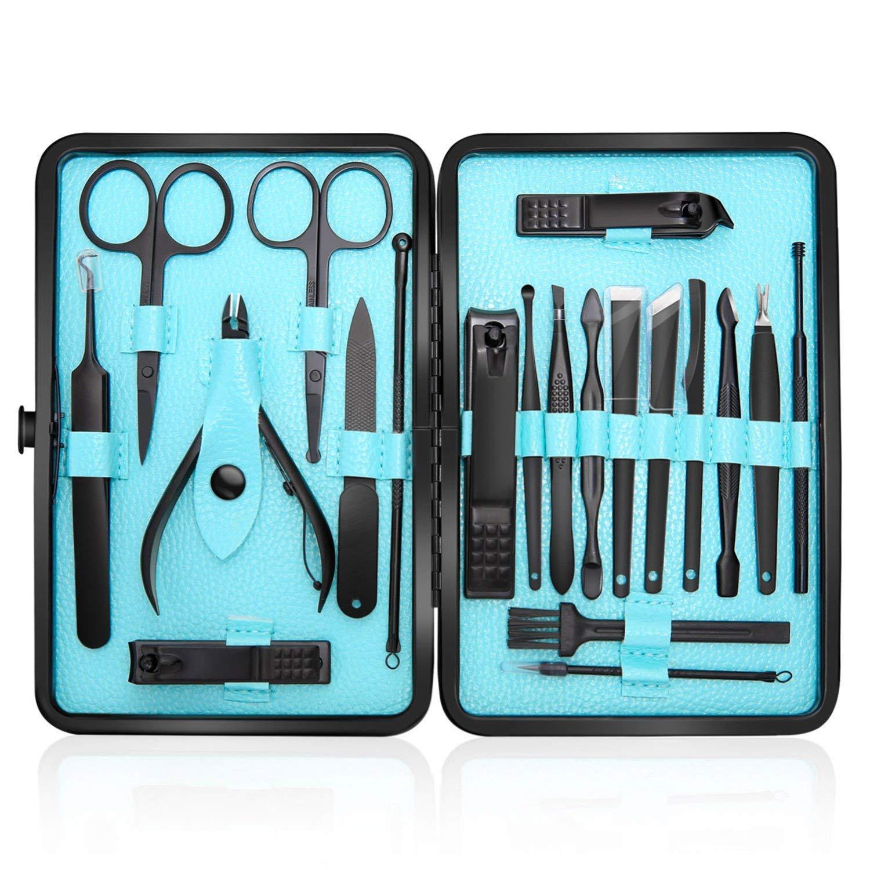 Tagliaunghie Set Professionale - Grooming Kit Strumenti per Manicure e Pedicure 20pcs con Box (blu) YHIT