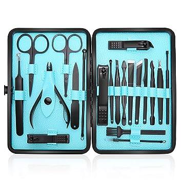 Profesional Cortaúñas Acero Inoxidable Grooming Kit - Set de 20 Piezas para Manicura y Pedicura Limpiador Cutícula con Bonita Caja (Azul)