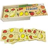 Ousdy - Set 3 Cajas Dominó de Madera 694157 Surtido Vehículos Juguetes Insectos Vegetales Jungla Herramientas Granja Frutas