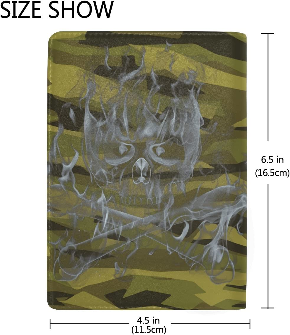 Green Ghost Genuine Leather Passport Holder Wallet Case Cover for Men Women