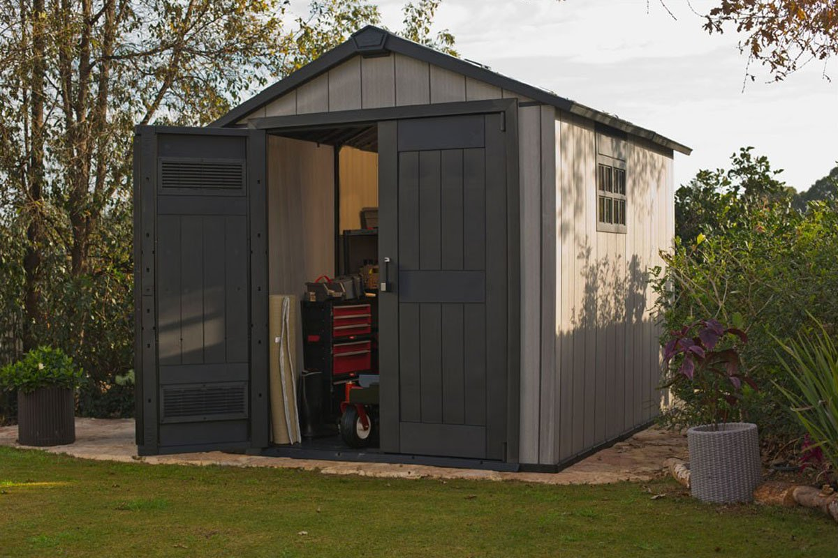 Caseta de jardín (resina, colores gris cepillado, 229 x 287 x 240 cm - pegane-: Amazon.es: Hogar