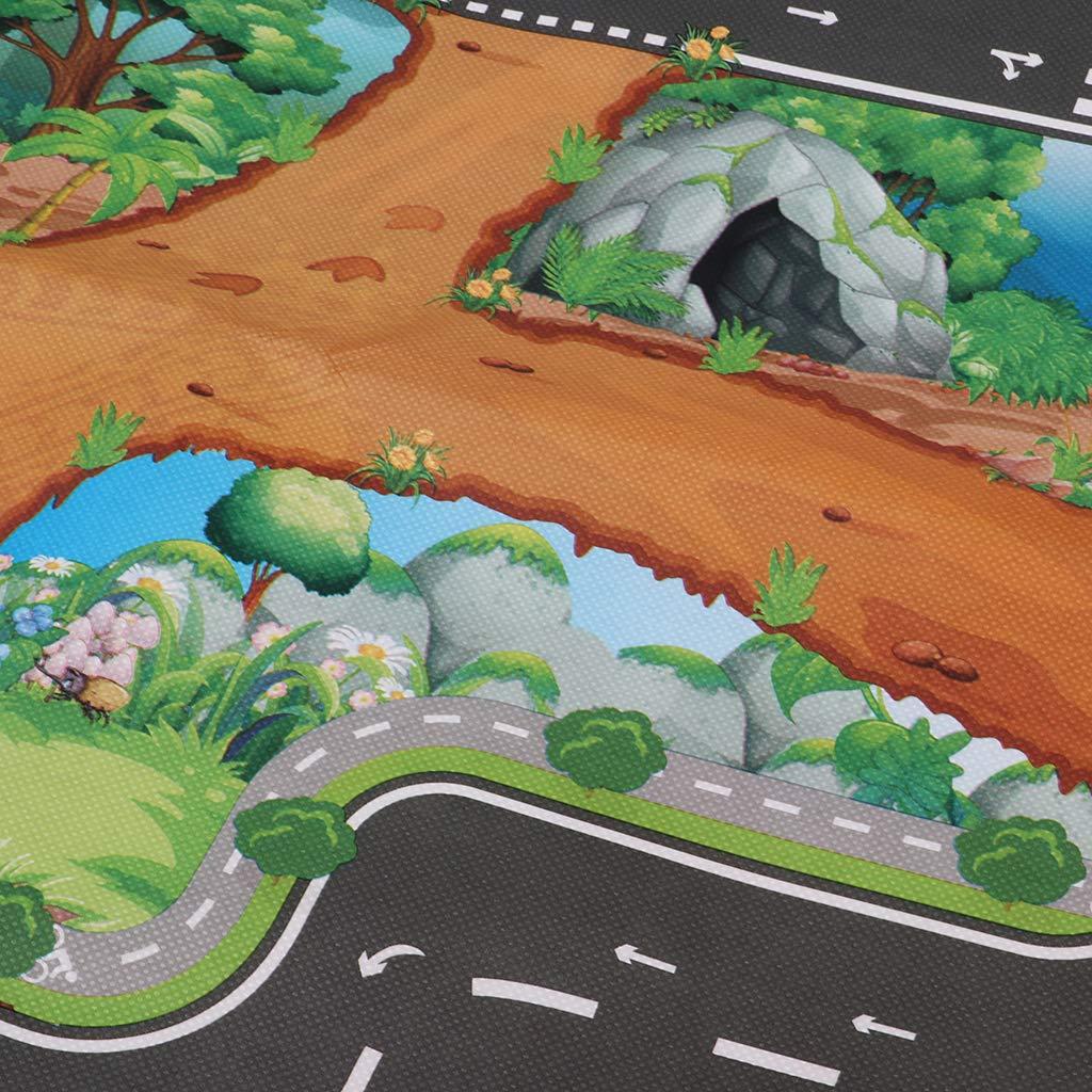 83x57cm Homyl Tapis de Jeu Enfants Dinosaure Routes Garage Non Tiss/é