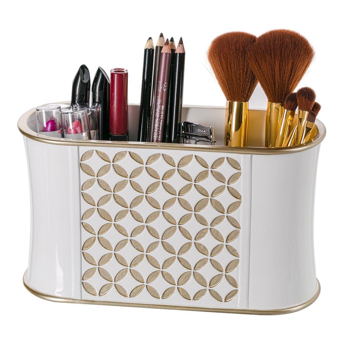 Makeup Brush Holder, Diamond Lattice Bathroom Organizer Countertop, Decorative Bathroom Counter/Vanity Organizer, 3 Slot Cosmetic Brushes Caddy/Hair Accessories Storage, Gift Packaged (White/Gold)