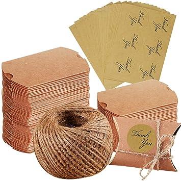 100 cajas de papel kraft para regalos de Navidad, bodas, fiestas, cordel de yute + 102 pegatinas de agradecimiento