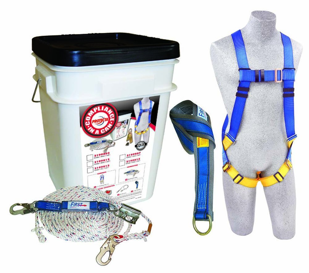8 Web Rebel Self Retracting Line White Bucket 6/' Web Tie Off Adaptor 8/' Web Rebel Self Retracting Line Capital Safety Roofers Kit 6 Web Tie Off Adaptor 2199819 Full Body Harness 3M Protecta Compliance In A Can
