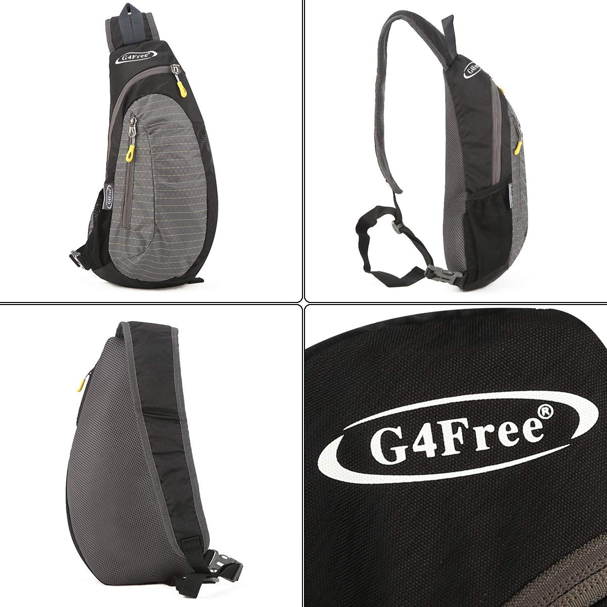 G4Free Sling Bag, Casual Cross Body Bag Outdoor Shoulder Backpack Chest Pack with One Adjustable Strap for Men Cycling Hiking(Black-Grey) by G4Free (Image #3)