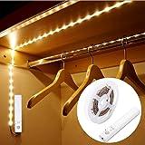 LUXJET® Motion Sensor Wardrobe light,Flexible 1M LED Strip,Battery Powered Warmwhite for Wall Closet Cabinet, Stairs, Drawer, Wardrobe