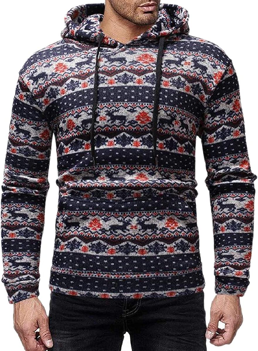 ONTBYB Mens Knitted Long-Sleeve Pocketed Casual Pullover Hoodies Regular Fit Sweatshirt