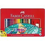 Faber-Castell 115933 - Estuche de metal con 48 lápices de colores acuarelables, lápiz de grafito GRIP 2001, pincel, afilalápices y goma de borrar, multicolor