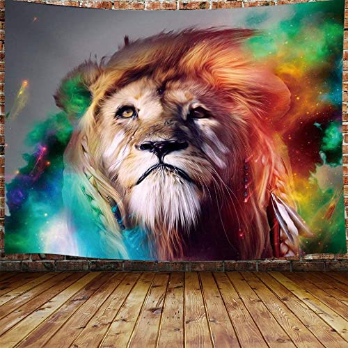 JAWO Trippy Lion Tapestry for Men, Psychedelic Animal King Colorful Galaxy Extra Large Tapestry Wall Hanging for Bedroom, Anime Hippie Tapestry Beach Blanket College Dorm Home Decor 90 W X 70 H