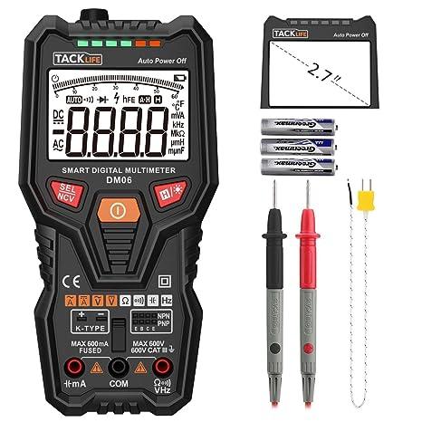 Tacklife-DM06-Multimetro digital completo, inteligente y automatico. Polimetro 6000 counts. NCV Identifica automáticamente la señal de medida. ...
