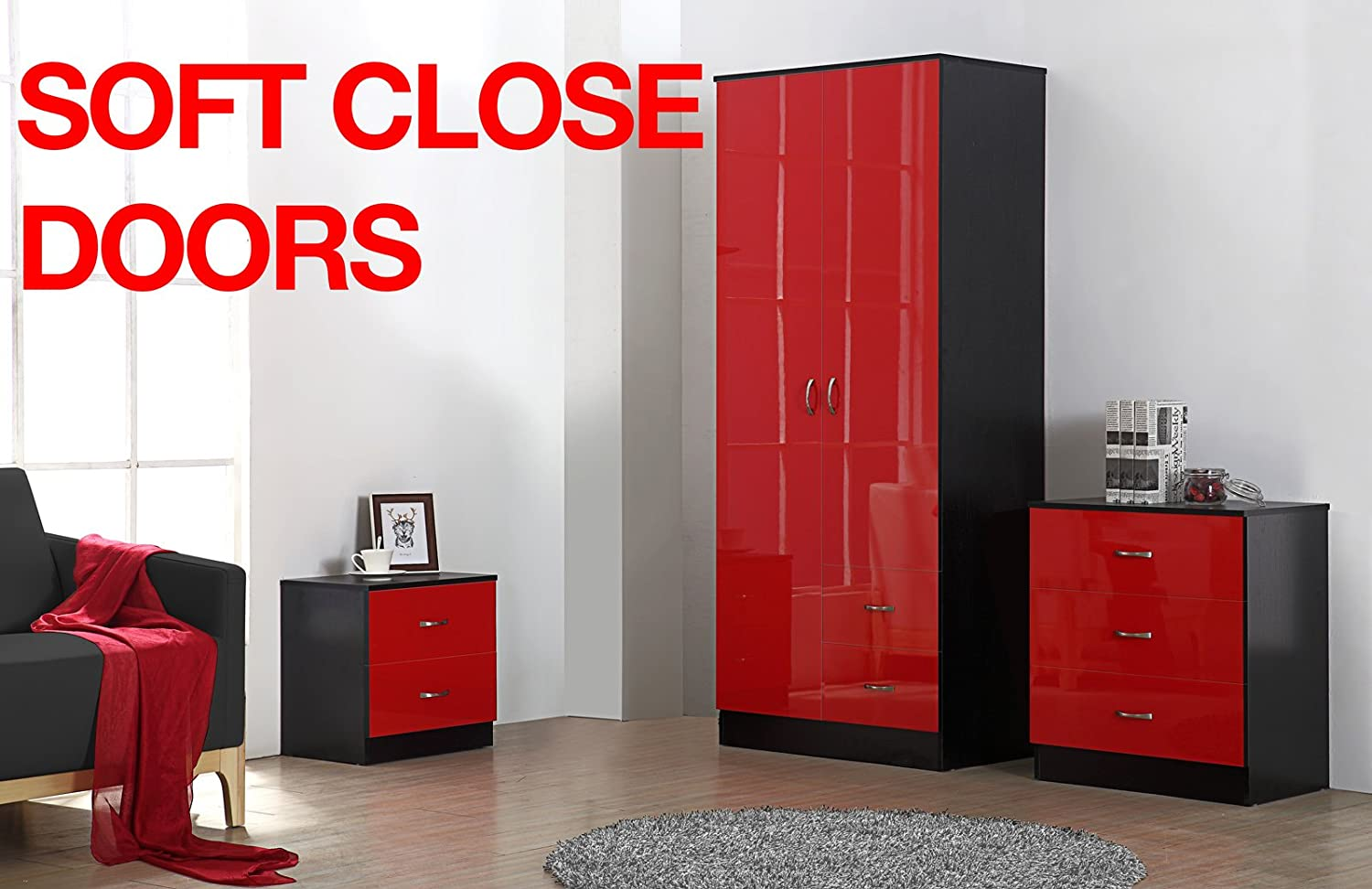 Fairpak Gladini High Gloss 3 Piece DRAWER Bedroom Furniture Set - Includes Wardrobe drawers, 3 Drawer Chest, Bedside Cabinet (Red/Black)