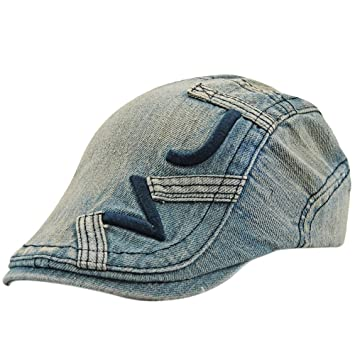 f54cc42ff1f Amazon.com   Unisex Retro Denim Embroidery Sun Berets Duckbill Cap Hat for  Couples Lovers Daily Wear Beach Hiking Camping Traveling Color D   Beauty