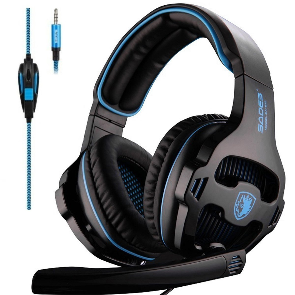 SADES SA810 PS4 Xbox One Headset Over Ear Stereo Gaming Headset Bass Gaming Headphones with Noise Isolation Microphone (Black&Blue)