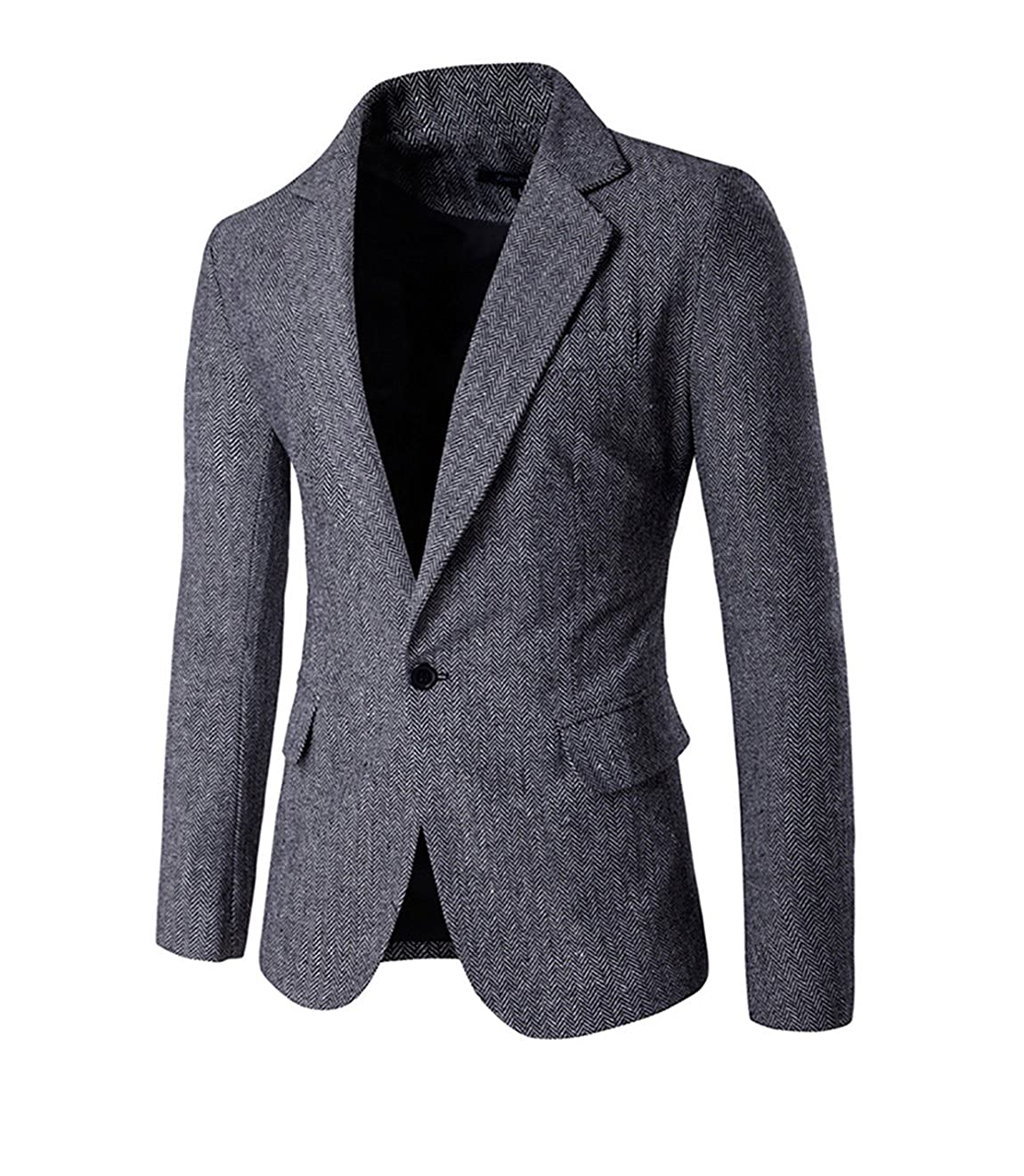 Slim Fit sportlich Herren Tweed Herringbone Blazer Sakko AW9283