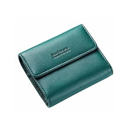 Klerokoh Mujeres Bifold Mini Cartera de Cuero Suave Embrague Billetera Bolsillo Damas Mini Monedero (Color