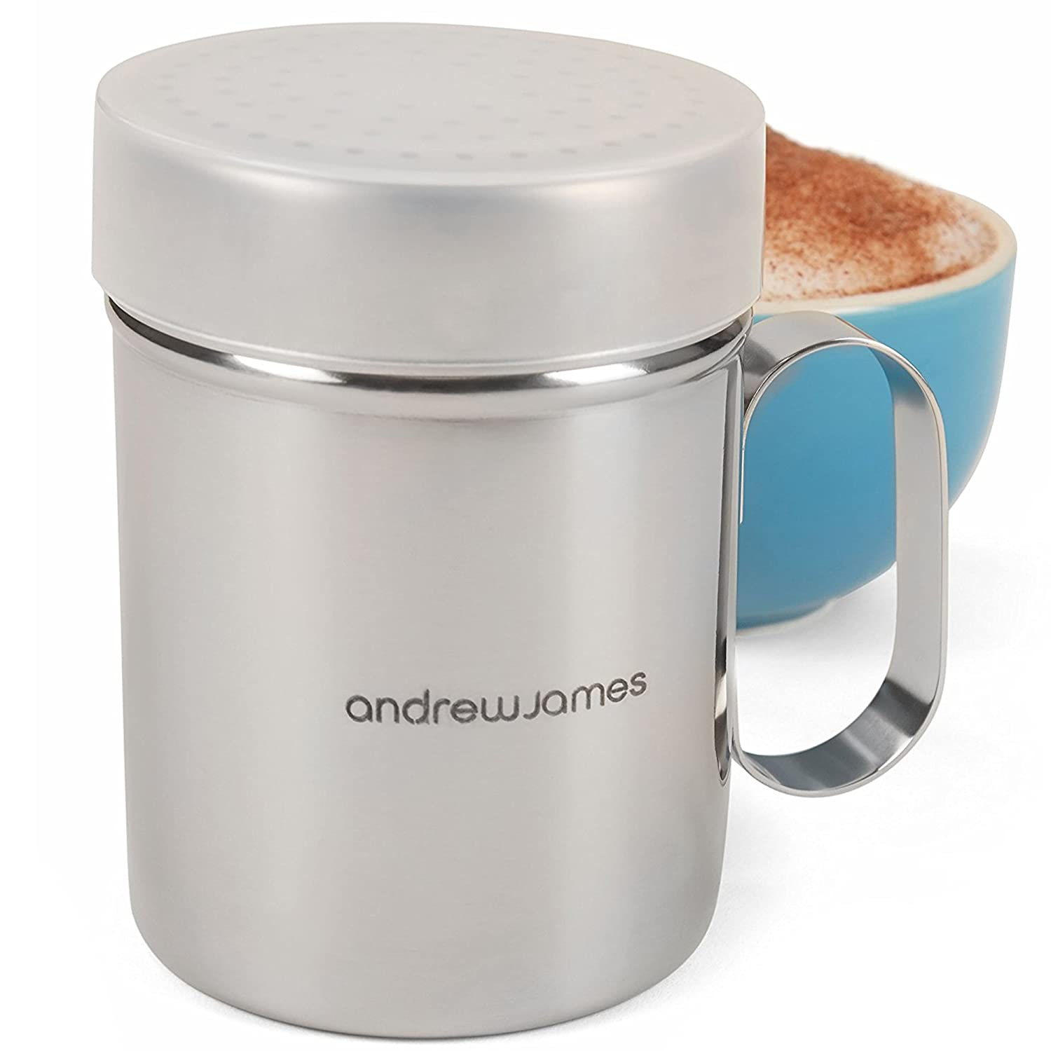 Andrew James Chocolate Shaker for Cappuccino Coffee | 250ml | Stainless Steel Cocoa Spice or Icing Sugar Duster