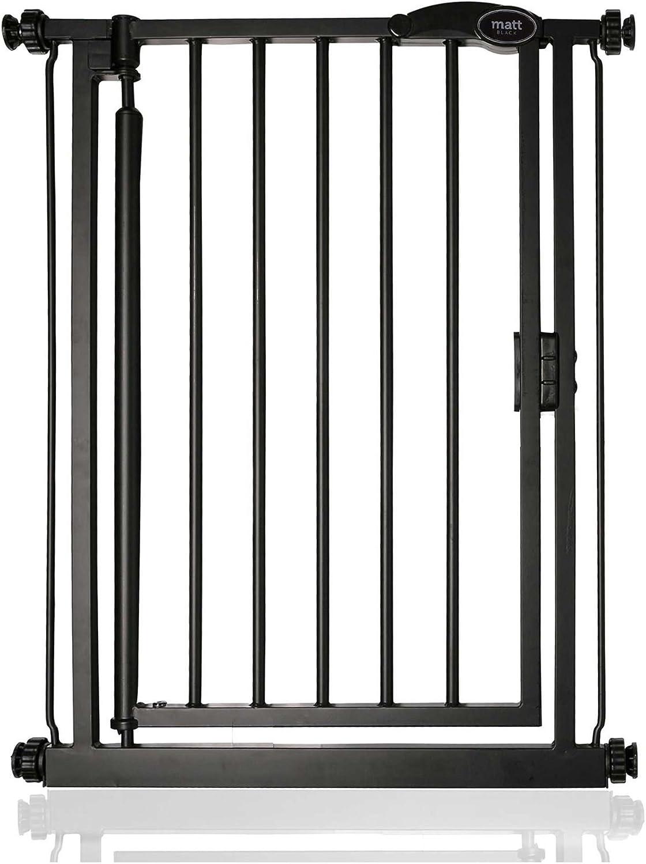 Safetots Cierre Automático Barrera de Seguridad Extra Estrecho Negro Mate 61cm - 66,5cm