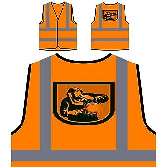 Soldador, soldadura, antorcha, frente, escudo, retro Chaqueta de seguridad naranja personalizado
