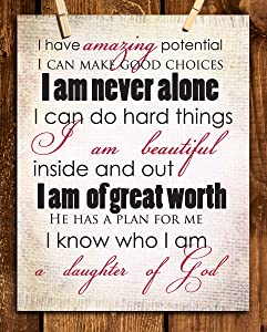 """I Am Amazing-I Am A Daughter of God""- 8 x 10""-Inspirational Wall Poster Ready to Frame. Modern Art Typographic Print-Home, Class & Office Décor. Perfect Affirmations-Empower Young Women-Teens-Girls."