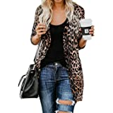 MYIFU Women's Leopard Print Sweater Cardigan Button Down Open Front Lightweight Shirt Outerwear with Pockets