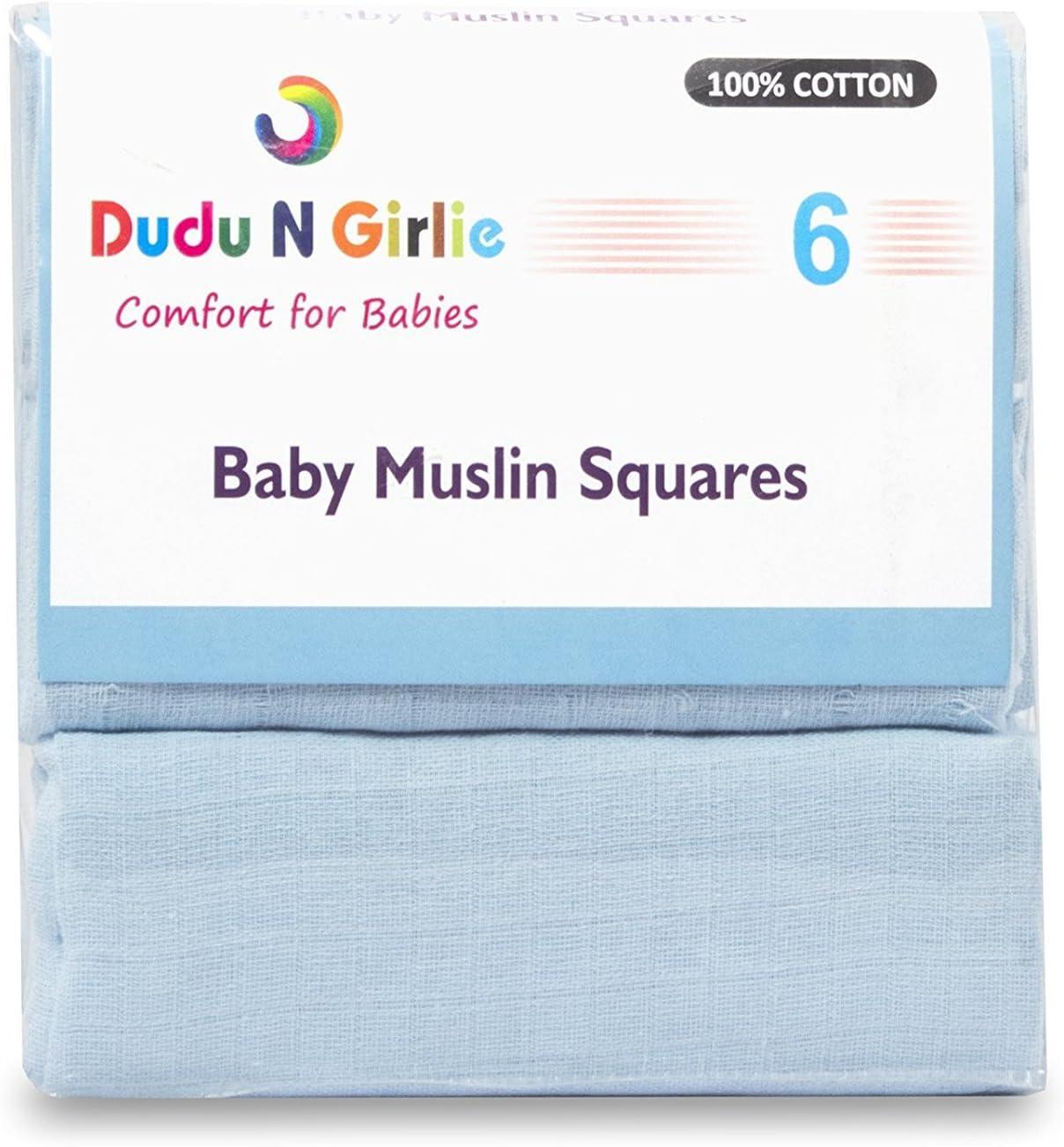 Dudu N pour 100/% coton b/éb/é carr/és de mousseline bleu//jaune 70/cm x 70/cm 12/pi/èces