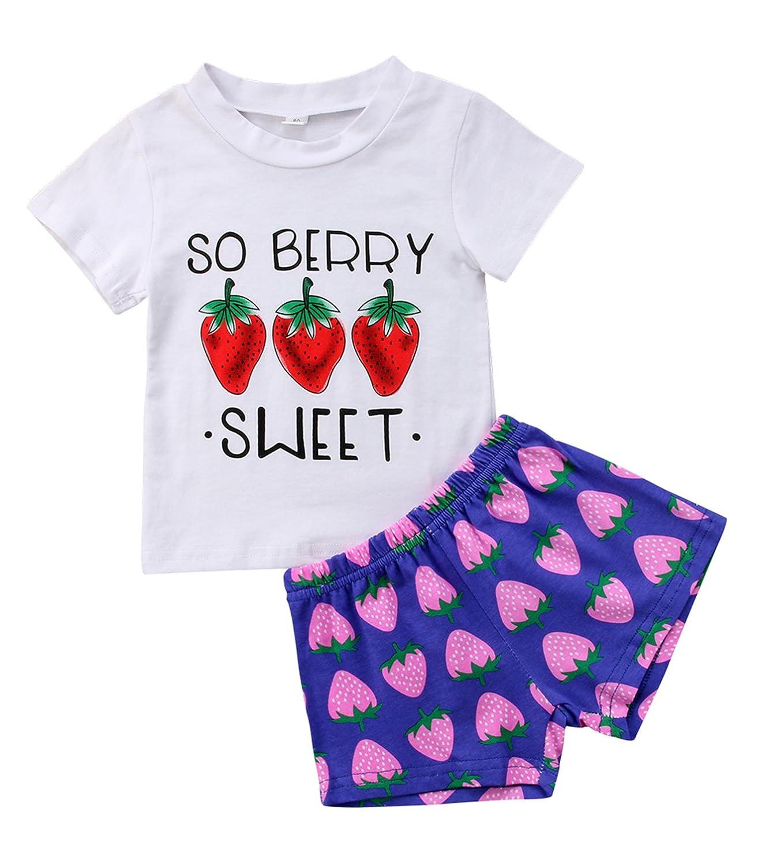 Urkutoba 2pcs So Sweet Berry Print T-Shirt+Strawberry Pattern Short Pants Short Sleeve Summer Casual Shorts Outfit