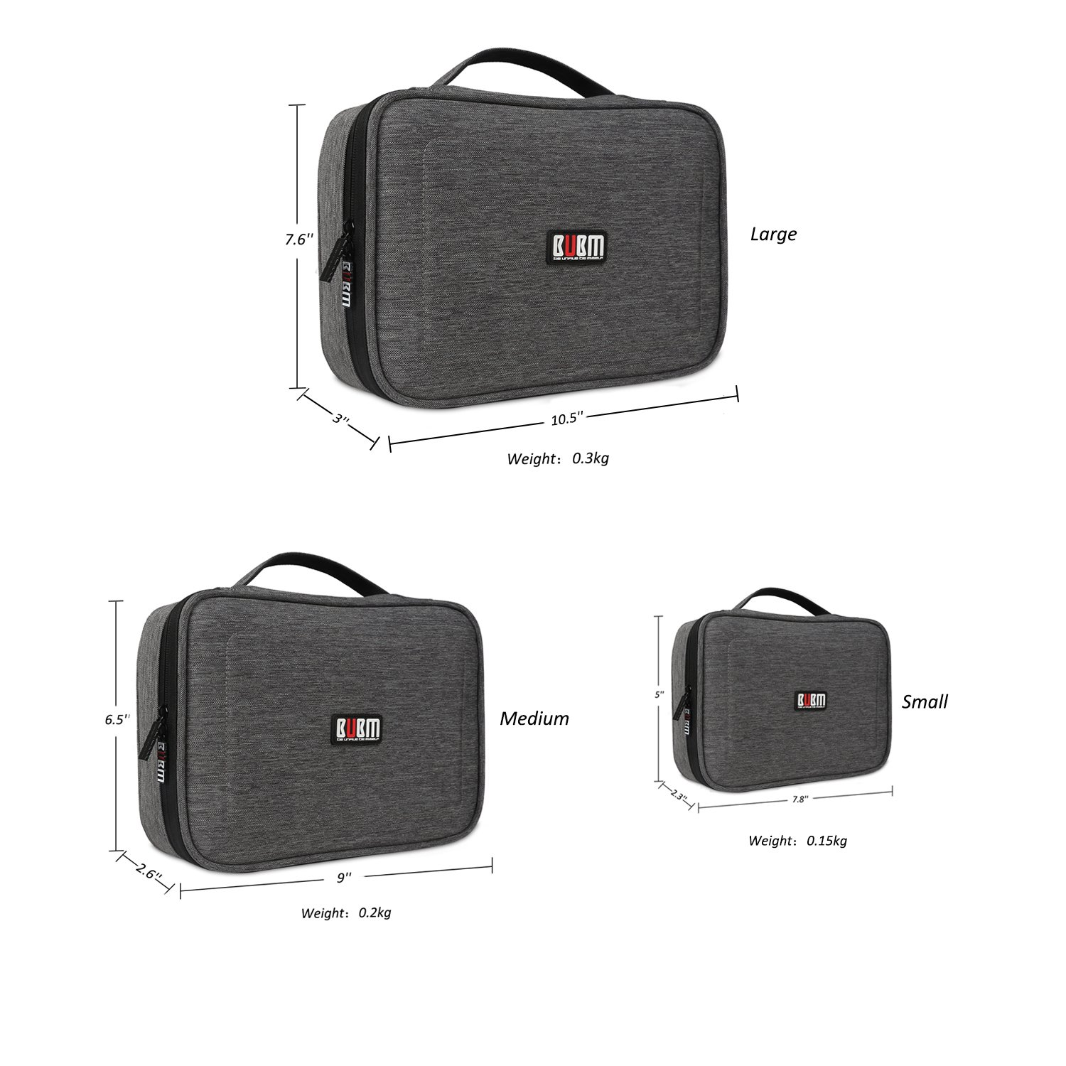 BUBM 3Pcs Electronic Travel Organizer, Portable Gadget Carrying Bag Gear Storage Organizer for Cables, USB Flash Drive, Battery, Adapter and More, Roomy and Compact,Denim Gray by BUBM (Image #3)
