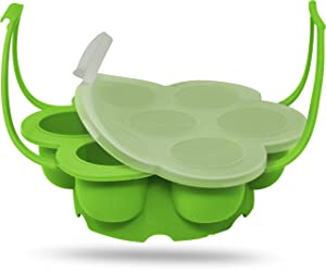 Salbree Egg Bite Mold for Instant Pot Accessories Silicone Instapot Steamer Molds Container for Eggs Meatloaf Vegetables Fits Insta Pot Cooker 5qt 6qt 8qt & Has Built-In Handles & Trivet (green)