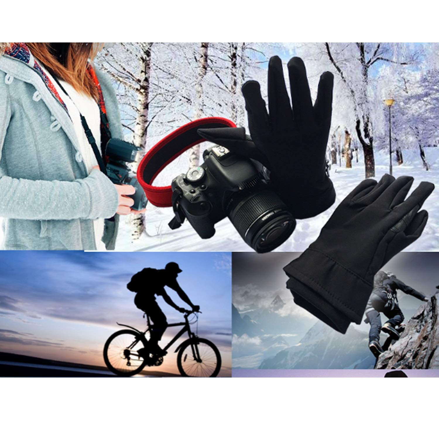 XIAOF-FEN Sensory Gloves for Easy Access to Camera or Phone in Winter Weather, Great for Photography Fly Fishing Ice Fishing Running Touchscreen Work Gloves (Color : Black) by XIAOF-FEN