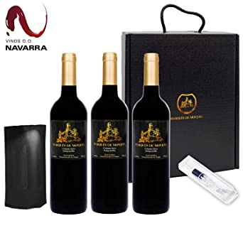 TITULO: Caja de Vino Tinto - Pack de 3 Botellas con Set que incluye Enfriador y Aireador - Oxigenador - Regalo Original - Crianza DO Origen Navarra ...
