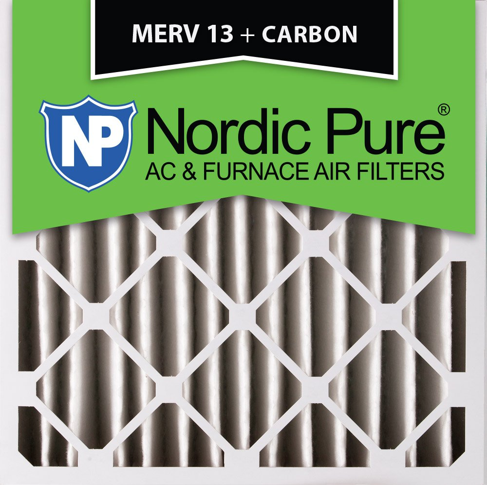 Nordic Pure 20x20x4 1 Pack 3-5//8 Atcual Depth MERV 13 Plus Carbon Pleated AC Furnace Air Filters