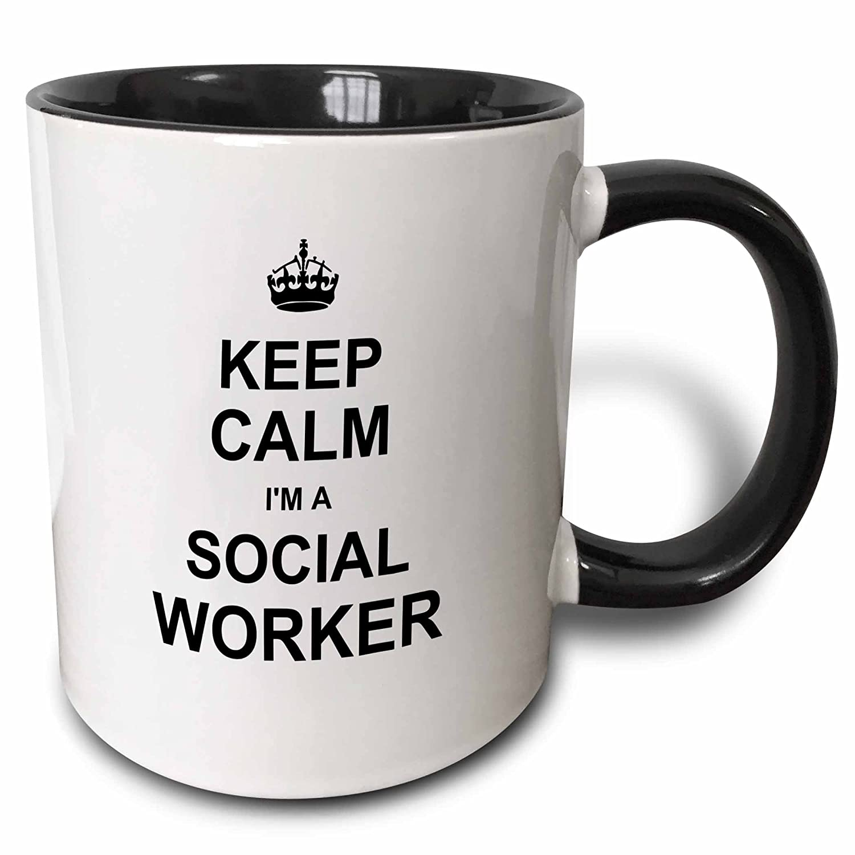 3dRose Keep Calm Im a Social Worker - job pride - funny profession work gift - Two Tone Black Mug, 11oz (mug_194473_4), 11 oz, Black/White 3EROS