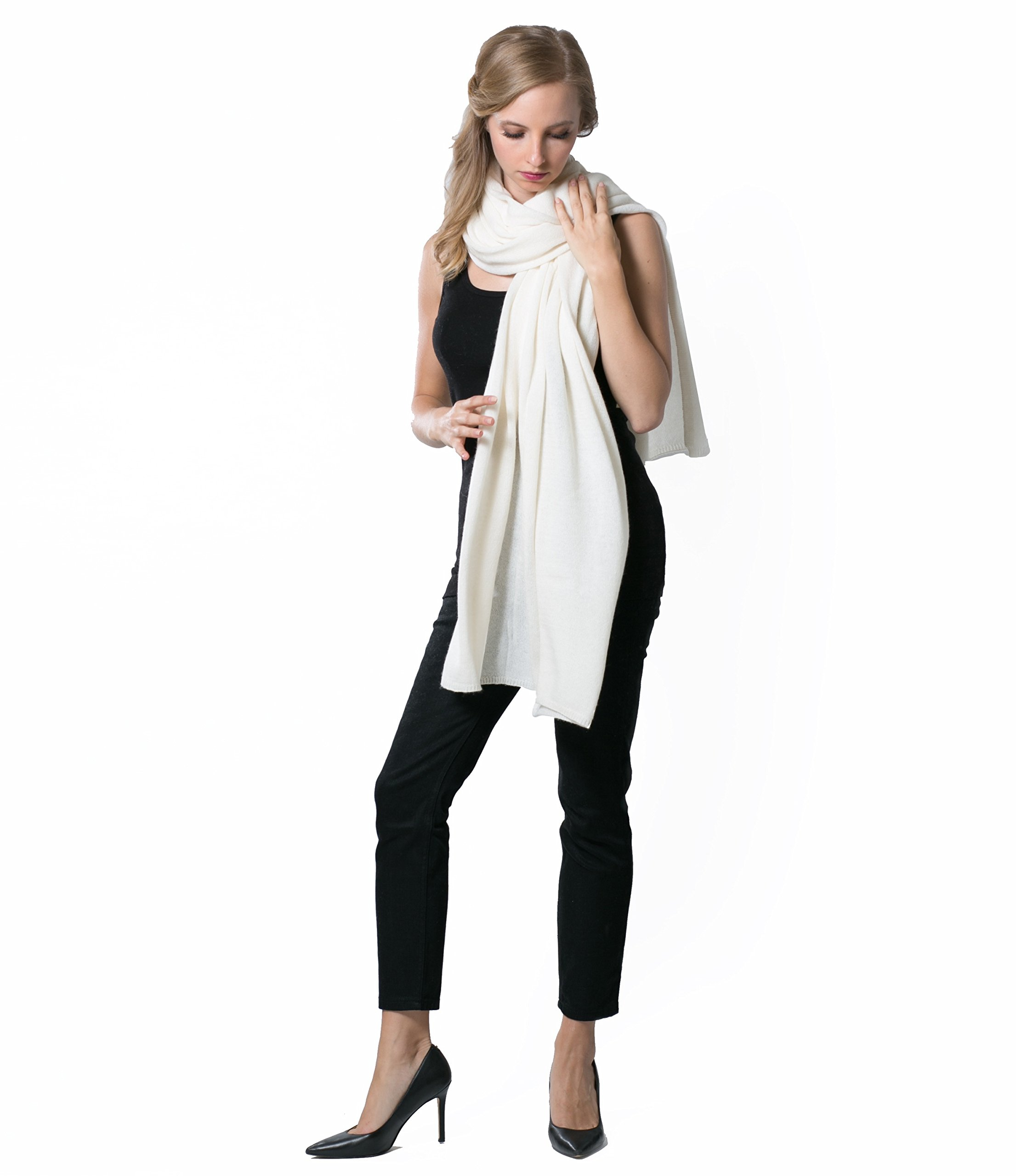 Super Soft Oversized 100% Cashmere Travel Blanket Scarf Wrap - Ivory White