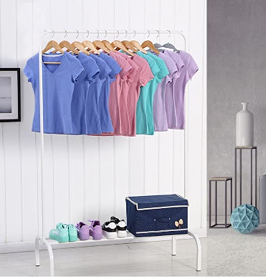 Perchero ease Home para ropa, con una sola barra con estante para almacenamiento de cajas, zapatos o botas en la parte inferior, minimalista, ...