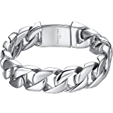 Aoiy - Bracelet Homme - Acier Inoxydable - gourmette - grand et lourd - Biker Bracelet, 21.3cm, ccb016
