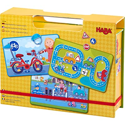 HABA Magnetic Game Box Street Sense - 118 Magnetic Pieces and 3 Background Scenes in Cardboard Carrying Case : Baby