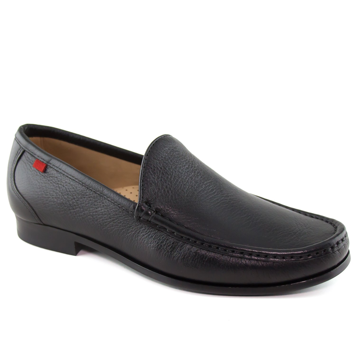 Mens Genuine Leather Made In Brazil Broadway Square Venetian Black Grainy Loafer Marc Joseph NY Fashion Shoes 10