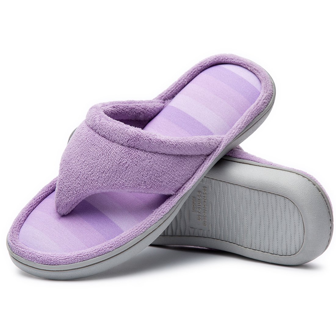 Cozy Niche Women's Microfiber Gradational Color Knit Thong Slippers, Textured Memory Foam Spa Flip-Flops (7-8 B(M) US, Purple)
