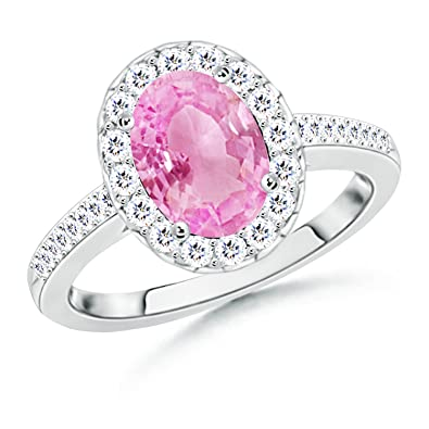 Angara Prong Set Oval Pink Sapphire Cathedral Solitaire Ring 1wUixdl