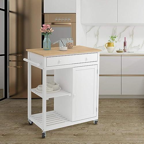 Mecor Kitchen Island Cart w/Wood Top