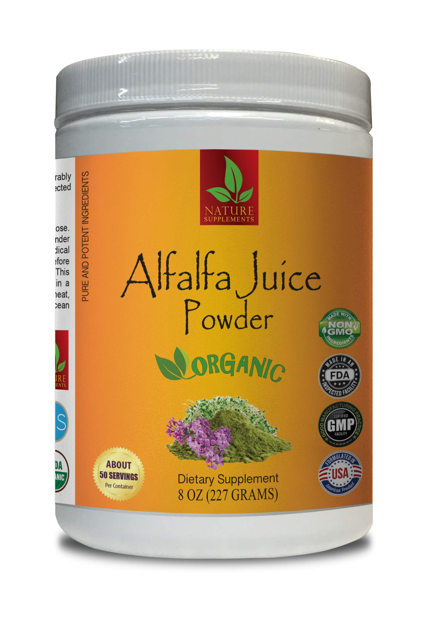 antioxidant Powder Organic - Alfalfa Juice Organic Powder - Pure and Potent Ingredients - Alfalfa Organic - 1 Can 8 OZ (50 Servings)