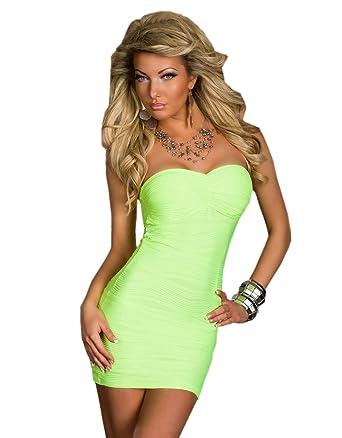 556ea597ac64 Sexy trägerloses Bandeau Minikleid Kleid Partykleid dress Gr. 34 36 XS S  Neon-Grün Größe  Einheitsgröße 34 - 36  Amazon.de  Bekleidung
