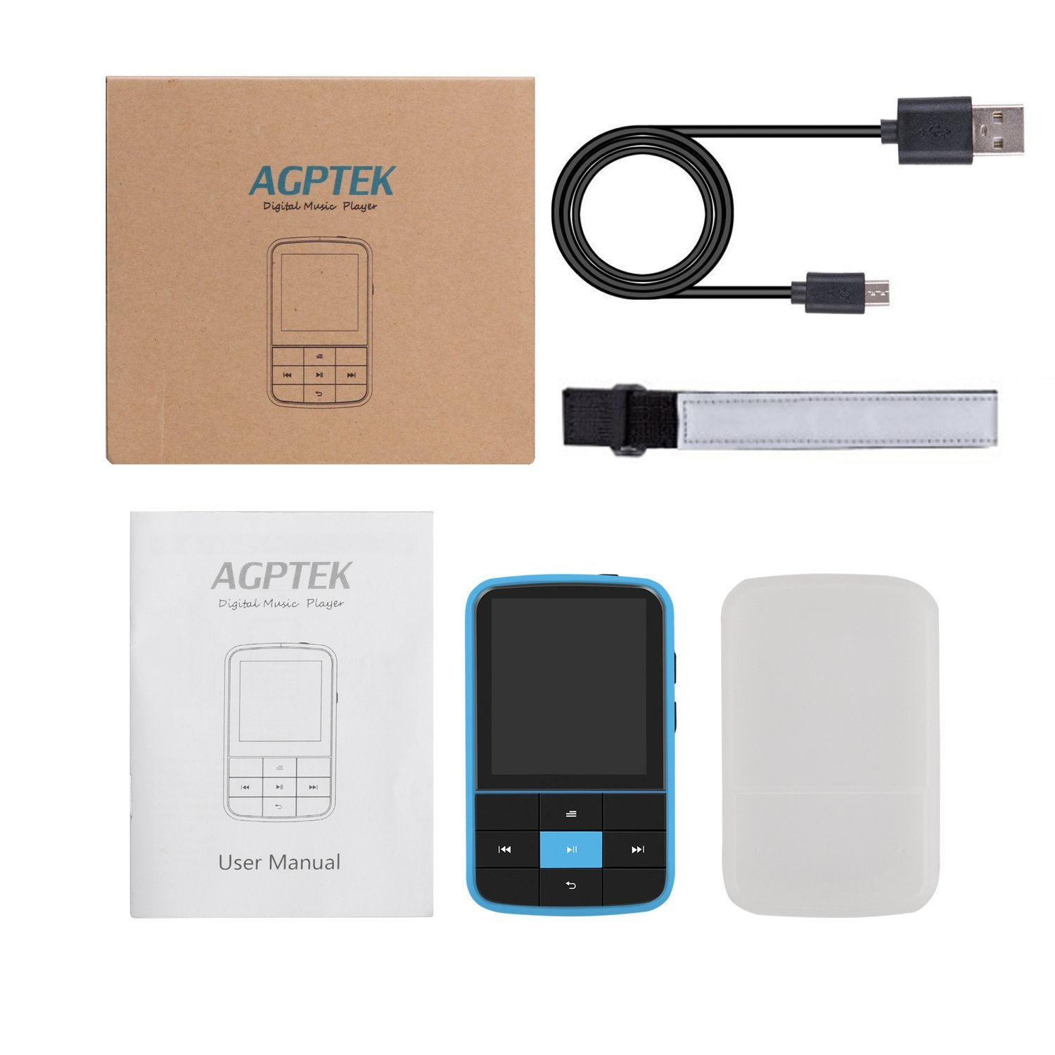 AGPTEK 16GB Clip MP3 Player with Bluetooth 4.0, Wearable Portable Music Player with Sweatproof Silicone Case and Sport Armband Expandable Up to 128GB, Blue(G15) by AGPTEK (Image #7)