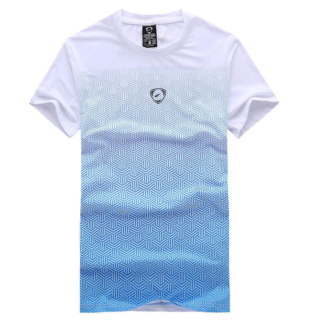 Zackate Men's Outdoor Gradient Print Quick Dry Short Sleeve Dri-fit T-Shirt for Running Fishing Hiking White