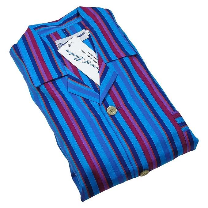 Marylebone turquesa pijamas Set masculino, con brocha multa superior del algodón y pantalones, azul