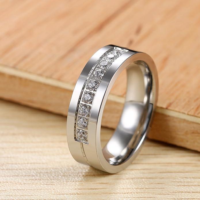 Flongo Anillos Pareja, anillos de compromiso, Alianzas para novios enamorados, Anillos de eternidad plateados de Acero inoxidable, Regalo para Día de los ...