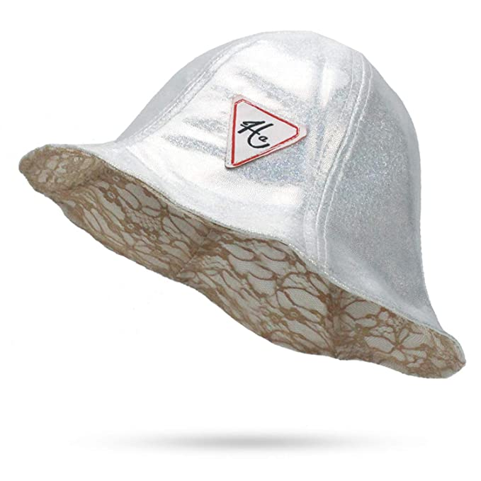 a37781c2d9c Bucket Hat Hip Hop Bob PU lace Hats for Unisex Chapeau Bonnet Femme Hat  Summer Shiny Fishing Double-Sided Cap at Amazon Women s Clothing store