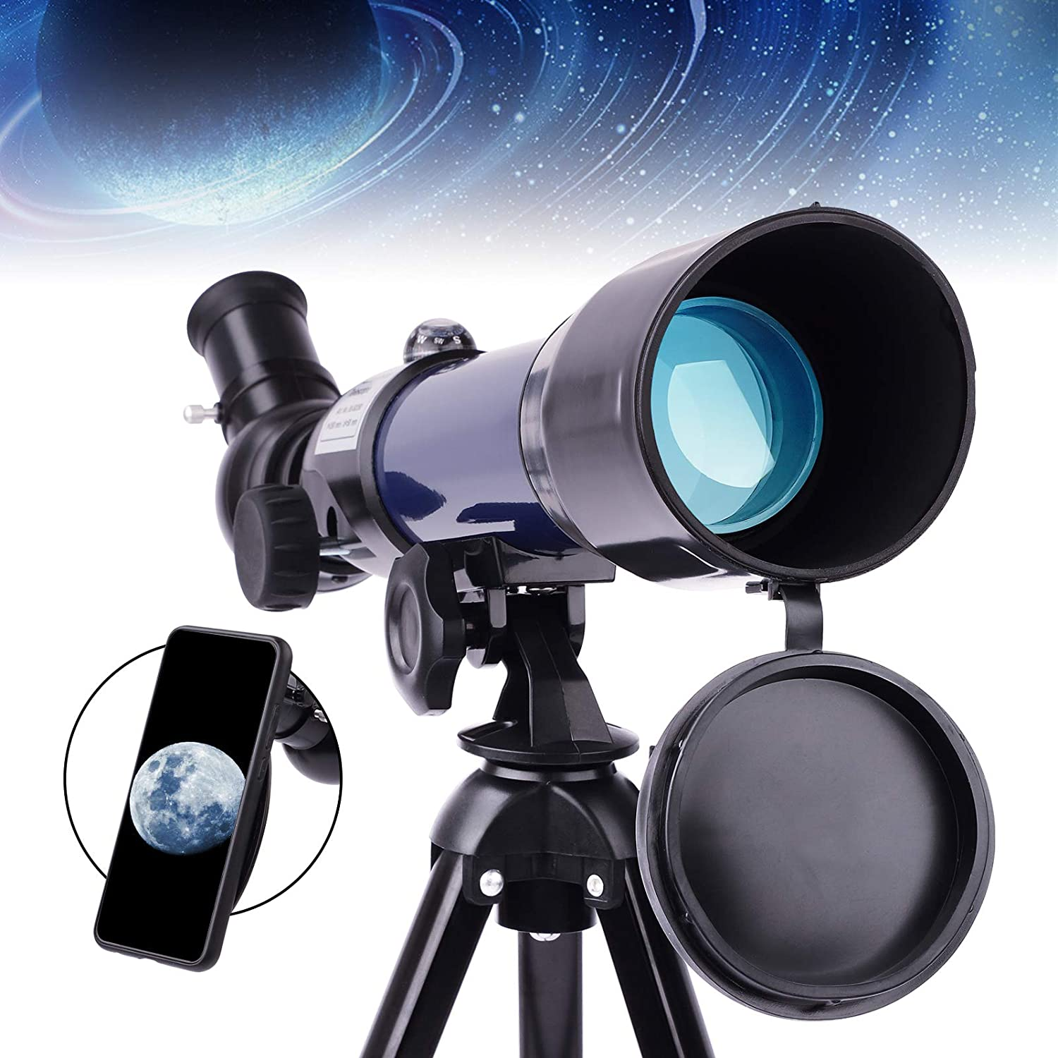Beginner Telescope with Phone Adapter-Telescope for Kids 50mm Aperture and 360mm Focal Length Professional Astronomy Refracting Telescope Compact Portable